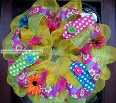 Polka Dot flip Flop Spring and Summer Deco Mesh by myfriendbo, $75.00