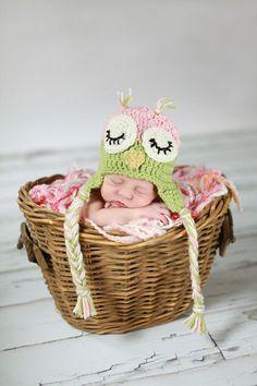 Crochet Sleepy Owl Hat---Custom Made Newborn to Adult