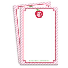 Personalized Pink Monogrammed Apple Notepads