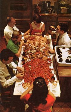 Crab Party !! ... Crabs boil in New Orleans, 1968. Gotta have one of these parties
