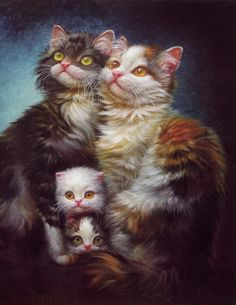 Chinese Oil Paintings- a noble cat-family...  sweet babies!