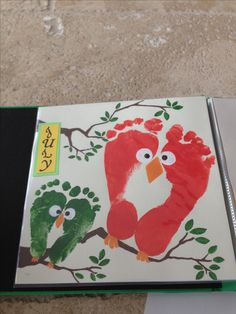 Owl Footprint Art-fathers day card papa