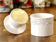 White Linen Antique Collection Butter Bell Crock by L. Tremain at Butter Bell® Store