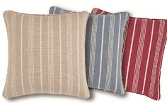 Grain Sack Collection: A fresh new look for the season: Rustic yet refined, this timeless pattern is designed to fit into any interior from simple and casual to country and rustic. Available in colors Linen, Bluestone and Claret. #stripes