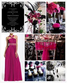 Black, White, Fuchsia, Silver wedding decor