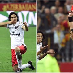 Uruguayan striker Edinson Cavani converted a penalty, but was soon after booked for a celebration that mimed shooting a gun and was shown a second yellow for immediately grabbing referee Nicolas Rainville's arm in anger.