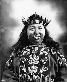 Tlingit woman named Kaw-Claa wearing her potlatch dancing costume,  Alaska, 1906