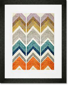 Wooden Chevron Stack Framed Art Print