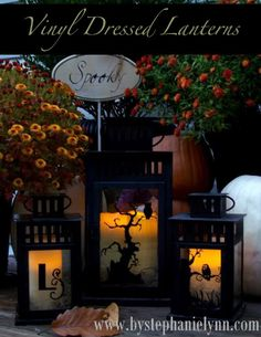 dress up lanterns with vinyl for Halloween