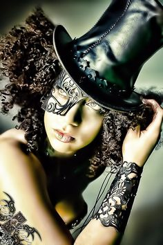 hat, cuff, mask #hat #tophat #black #goth #gothic #leather #hair #mask #fashion #costume