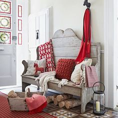 Love decor, home interiors, bench, cute christmas cottage, entri, bedroom colors, bedrooms, entryway, country homes