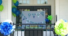 blue and green party decorations