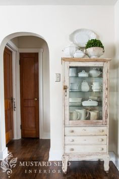 Dental cabinet bought from @Ashley Urban Farmgirl at #thechapelmarket...now in its home and filled with Ironstone!