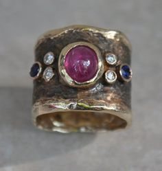 Black Byzantine Ring With Ruby, Sapphires And Diamonds CustomMade by Patricia Riley $ 4,450