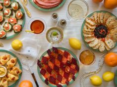"Literary food images: Great Gatsby pictured: ""On buffet tables, garnished with glistening hors-d'oeuvre, spiced baked hams crowded against salads of harlequin designs and pastry pigs an..."