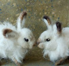 Sara Renzulli   needle felted Mini Snow Hare