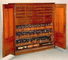 Ribbon Mahogany Tool Cabinet By Arthur Sorrill circa 1894