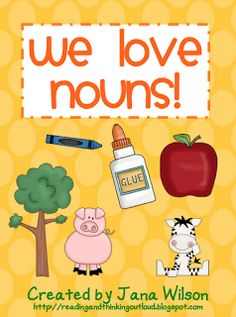 "FREE LANGUAGE ARTS LESSON - ""We Love Nouns""  ....,.Follow for cute & 'too-neat-to-keep' teaching tools & other fun stuff :)"