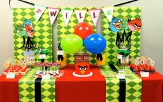 "Love this dessert table. Replicate this but with breakfast foods for early ""angry"" bird party."