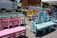 vintage chairs, pastels, vintag chair, garden benches, gardens, benches made from chairs, furniture, tuinbankje, bench from chairs