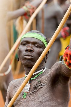 Africa |  Surma warrior at donga stick fighting - South west Ethiopia | © Johan Gerrits, via Flickr