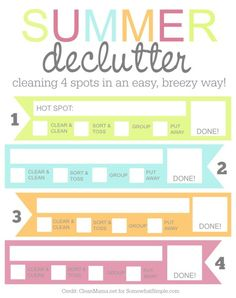 free summer declutter worksheet - this is so great!
