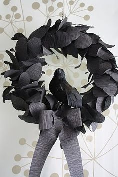 Dollar Store wreath crepe paper, styrofoam wreath, raven tutorial on katydidandkid.com