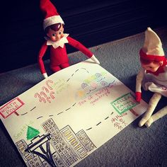 Elf on the Shelf is drawing a Map from the North Pole to the family farmhouse....He had to cross through Candy Lane Factory.... shelf idea, 53 place, candies, map, parent, candy canes, north pole, elv, snowflak