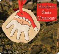 Nap Time Crafters: Handprint Santa Ornaments