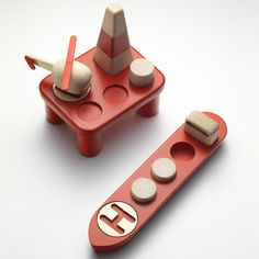 Norwegian studio Permafrost created wooden toys based on an oil rig and tanker