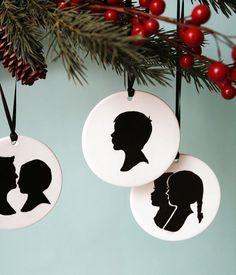 Custom Silhouette Ornament - Child Silhouette - Baby's 1st Christmas by Le Papier Studio. $30.00, via Etsy.