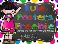 """Rule Posters Freebie...Follow for Free """"too-neat-not-to-keep"""" teaching tools & other fun stuff :)"""