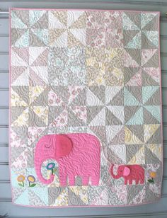 Love this E is for Elephant baby quilt and pattern, which is a part of the series Animal Alphabet Quilts at The Piper's Girls. #babyquilts #elephants elephants, sew, little girls, baby quilts, color, quilt patterns, eleph quilt, quilt kits, appliqu