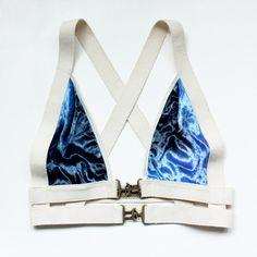 "Harness ""Ellen"" Bra - Cotton Elastic Banding, Brass Buckles and Blue Tie Dye Stretch Velvet. $65.00, via Etsy."
