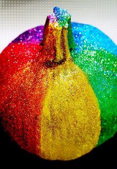 Rainbow glitter pumpkin! Fabulous idea for Halloween