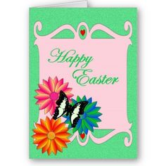$3.80 #cards #easter #zazzle #elenaindolfi Easter Colorful Flowers and Butterfly Card by elenaind