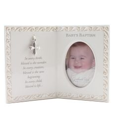 Baby's Baptism Blessing Photo Frame. Cute and unique baptismal gift. Especially perfect if you can find a baby picture prior to gifting! $18.95 #CatholicCompany