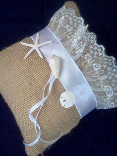 Burlap White and Lace Ring Bearer Pillow by BeachWeddingTreasure, $28.00
