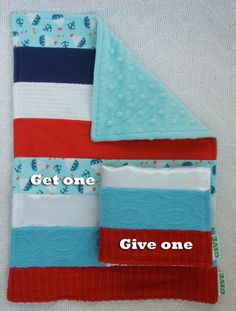 Baby Boy Sensory Security Blanket  Lovey - come sail away - Get One, Give One to babies in Kenya, Africa, $30.00