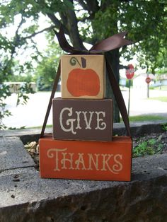 GiVe ThAnKs Wood Block Set Sign Primitive Fall Decor Hand Painted Home Decor. $15.00, via Etsy.