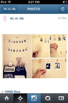 Víñtàgé Style Picture Display~  1) Print out how many photos you'd like. 2) Use yarn and clothes pins to hang photos from wall, ceiling, ect… 3) You're done!