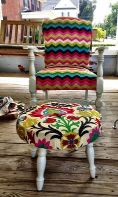Upcycled Chair and Ottoman Beautiful, Bright