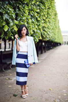 bold striped midid skirt & crop top