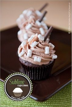 Hot Chocolate Cupcakes With Mint Kissed Centers