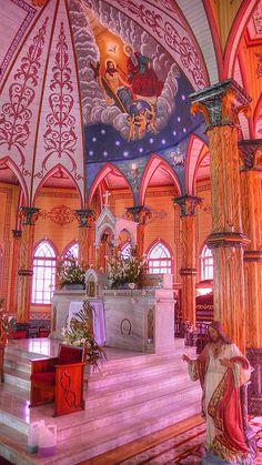 Inside a church in .Zarcero Costa Rica