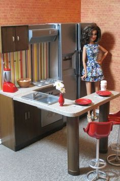 OOAK-Kitchen-Furniture-for-Fashion-Royalty-Barbie-Refridgerator-Chairs-Bar-Stool