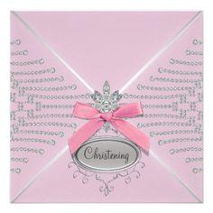 birthday party invitations, birthday parties, christening invitations, diamonds, christen invit, bow pink, bows, pink christen, diamond bow