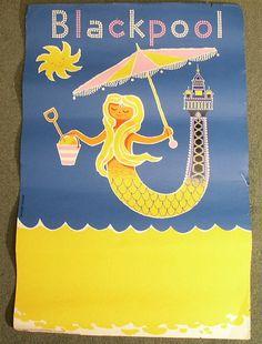 vintage Daphne Padden mermaid travel poster
