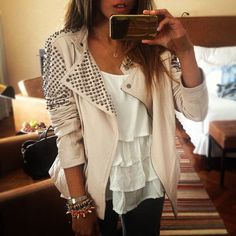 fashion, bracelets, outfit, stud, blazers, leather jackets, closet, black, shirt