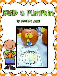 Build a Pumpkin holiday, fall, pumpkins, kindergarten idea, pumpkin freebi, jump class, build, school idea, halloween